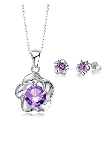 Enesstore Gümüş Kaplama Çiçek Kolye Küpe Seti Gümüş Set Mor